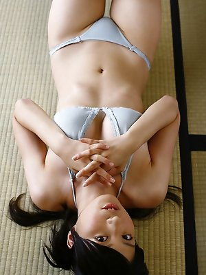 Rina Sasamoto Asian in bath suit is in mood for some exercises