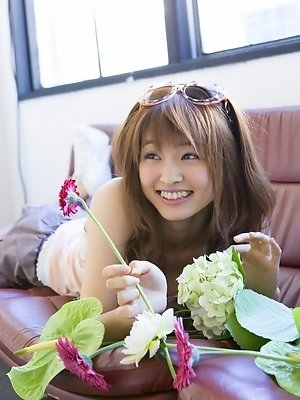Rei Okamoto Asian cute and sexy doll loves music and flowers