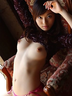 Asian lovely takes it all off and shows her desirable naked body for her date